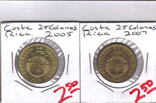 From Show Inv. - 2 NICE UNC. 25 COLONES COINS from COSTA RICA (2005 & 2007)