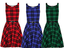 LADIES TARTAN CHECK PRINT BELTED SLEEVELESS SKATER DRESS TOP PLUS SIZE 8 - 26