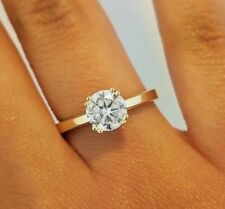 14k Solid Yellow Gold 1 CT Diamond Engagement Ring Solitaire Round Cut