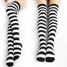 1Pair Fashio Black White Striped Long Socks Women Warm Cotton Over The Knee
