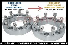 PAIR OF 2PC 8X200 TO 8X210 CONVERSION WHEEL SPACER ADAPTERS 14X1.5 STUDS