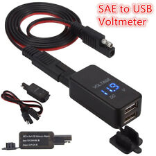 12V Dual Motorcycle SAE USB Phone GPS Charger Cable Adapter Voltmeter Boat ATV