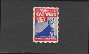 Vintage National CAT WEEK Label MINT full gum 1951 The American Feline Society
