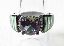 Silver 925 SF Black Gold Size 7.5 Ring White Lab Fire Opal & 8mm Rainbow Topaz