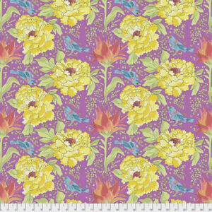 Laura Heine PWLH016 Color Fusion Bird of Paradise Violet Cotton Fabric By Yard