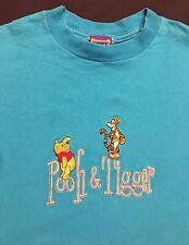 Pooh & Tiger EMBROILED Blue Disney T-SHIRT Sz. M