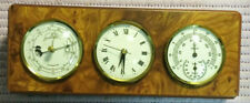 Stazione meteo da scrivania in radica e ottone vintage Orologio  IDEA REGALO