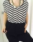 WITCHERY WOMENS TOP PRINTED BLACK WHITE VISCOSE COTTON BL Short Sleeve SZ S