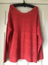 b young Coral Orange Loose Knit Jumper XL Immaculate Clean Condition 14 16