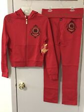NWT Apple Bottoms Pretty Girl Red Two Piece Sweatsuit with Hood ~~ Size M