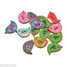 30PCs Wood Buttons 2 Holes Cartoon Birds Sewing Scrapbooking 1.5x2.3cm
