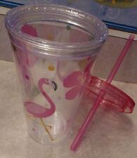 Pink FLAMINGO Tall Straw Lid Florida Goblet Plastic Glass Pool Friendly Luau