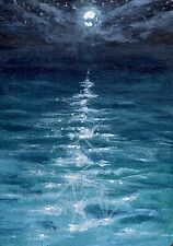 Nocturne Original Mini ACEO Oil Painting, Moonlight Waters by Sarah Bocinsky
