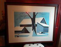 Signed Gerry Dvorak Framed Art 24.5x30.5 Famous for Baseball Player Drawings