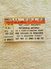 2003 Motorhead Anthrax Ticket Stub The House of Blues Chicago 5/17/03
