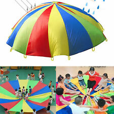 Parachute Outdoor Game Exercise Sport Toy 8 Handles Child Play Rainbow Parachute