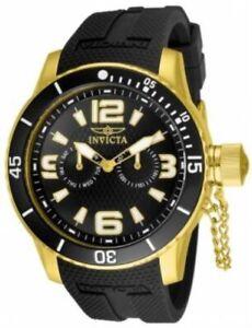 Invicta 1792 Corduba Diver Gold Tone Black Quartz Polyurethane Strap Mens Watch