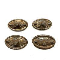 4 Vtg Antique Victorian Cabinet Drawer Pulls Pressed Metal Bale Handle Ornate