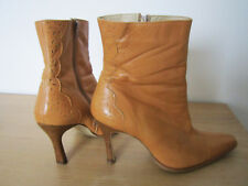 LADIES FAITH CUT OUT ANKLE BOOTS SIZE 8 41 BEIGH LEATHER  HIGH HEEL STILETTO