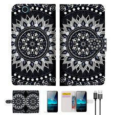Black AZTEC TRIBAL Wallet Case Cover For ZTE Blade A610-- A005