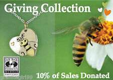 Save the Bees Heart Pendant ONLY Far Fetched Mima Oly 10% Donated