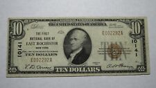 $10 1929 East Rochester New York NY National Currency Bank Note Bill #10141 VF!