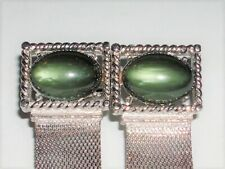 VINTAGE CUFF LINKS STUNNING DEEP GREEN LUCITE STONE FANCY SILVER TONE MOUNTING