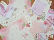 Pink Themed Cute Stationary Set Penpal (18-25 pc) [Memo/Washi Tape/Stickers]