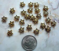 25 Yellow gold plated 7mm star shaped spacer beads create earrings, beads fpb178