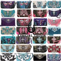 Western Studded Bling Rhinestone Removable Wrist Strap Women's Wallet Collection