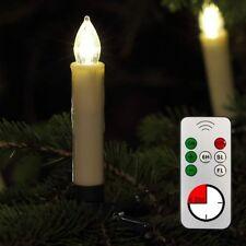 Kabellose LED Weihnachtskerzen 10er Lichterkette Kerzen Christbaumkerzen beige
