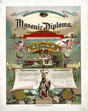 Masonic Diploma Master mason certification circa 1890 16x20 Poster repro