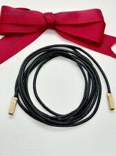 BRAND NEW! GENUINE Pandora 14kt Gold Black leather Lariat Necklace 100cm 350956