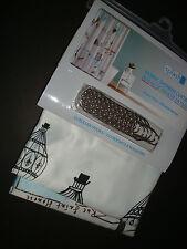 """New Splash Home Fabric Shower Curtain 70x72"""" with 12 Roller Hooks Paris La Ville"""
