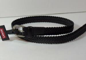 "New Boy's Black Leather Braided LEVI'S Belt, Sz  Large 30""-32"""