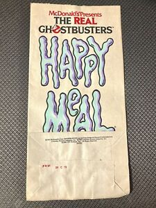 McDonalds 1991 Rare Real Ghostbusters Happy Meal Paper Bag Sack NEW UNUSED