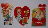 Vintage Antique 3 Children's Valentine's Cards Circa 1950, 1960's Kitschy Kids