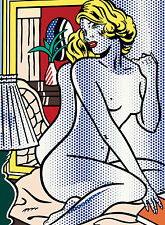 lichtenstein VINTAGE ART PRINT  A1 SIZE poster wall decor blue nude dots