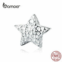 BAMOER Women European Charm S925 Sterling Silver bead with texture Fit Bracelet