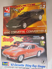 REVELL & AMT 1996 CORVETTE CONVERTIBLE & SNAP TITE 63 CORVETTE STING RAY COUPE