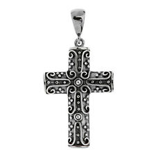 Savati ~ Sterling Silver Byzantine Curved Cross Pendant