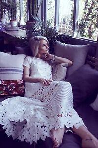 Ted Baker Halory Guipure Sheer Panel Lace Maxi Bridal Wedding Dress 10 38 £499