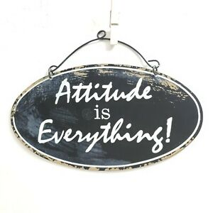 Attitude is Everything Oval Metal Plaque Hanging Wall Decor Thin Plate