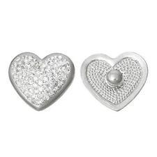 Chunk Snap Jewelry Button Heart Silver Tone Fit Chunk Bracelet Clear Rhinestone
