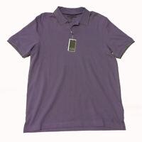 IKE By Ike Behar Men Size M Chalk Violet Contrast Trim Polo Shirt Cotton Spandex