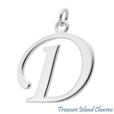 Large Script Letter D Initial .925 Solid Sterling Silver Charm Pendant USA MADE