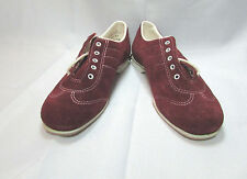 Vintage Endicott Johnson Burgundy Leather Personalized Bowling Shoes Sz US 6.5 M