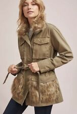 NEW ANTHROPOLOGIE Faux Fur-Trimmed Field Parka Jacket, Size S, Retail $188