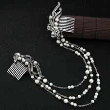 Rhinestone Simulated Pearl Diamonds Long Chain Hair Combs Wedding Hair Jewelry