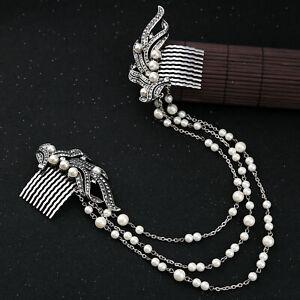 Rhinestone Simulated Pearl Diamonds Long Chain Hair Combs Wedding Hair Jewelry